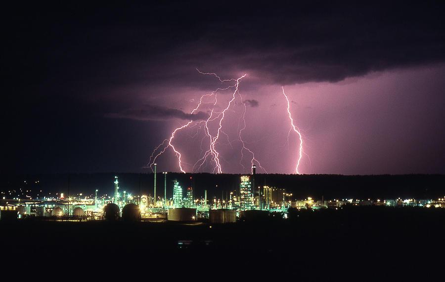 Refinery Photograph - Exxon Lightning by Dave Rennie