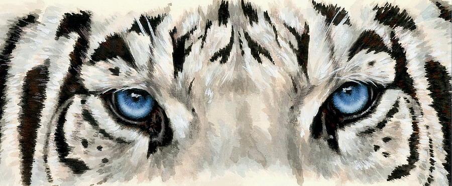 Big Cat Painting - Royal White Tiger Gaze by Barbara Keith
