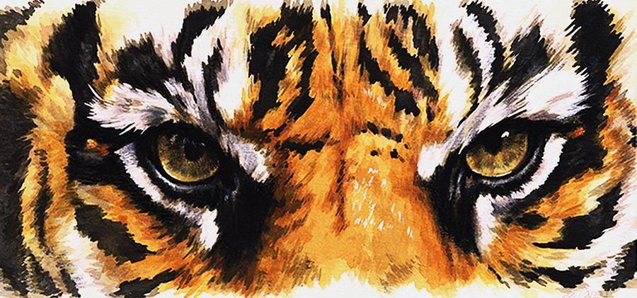 Eye catching Sumatran Tiger Mixed Media By Barbara Keith