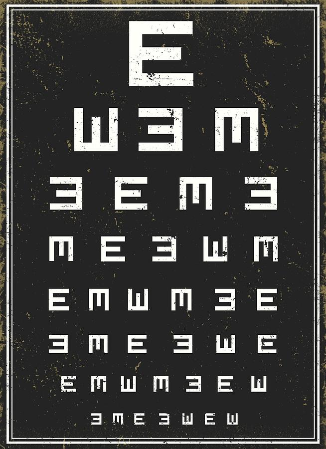 Eye Chart Black Digital Art By Lasse Orling