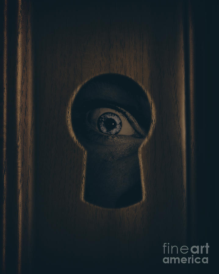 Keyhole Photograph - Eye Looking Through Door Keyhole by Jorgo Photography - Wall Art Gallery & Eye Looking Through Door Keyhole Photograph by Jorgo Photography ...