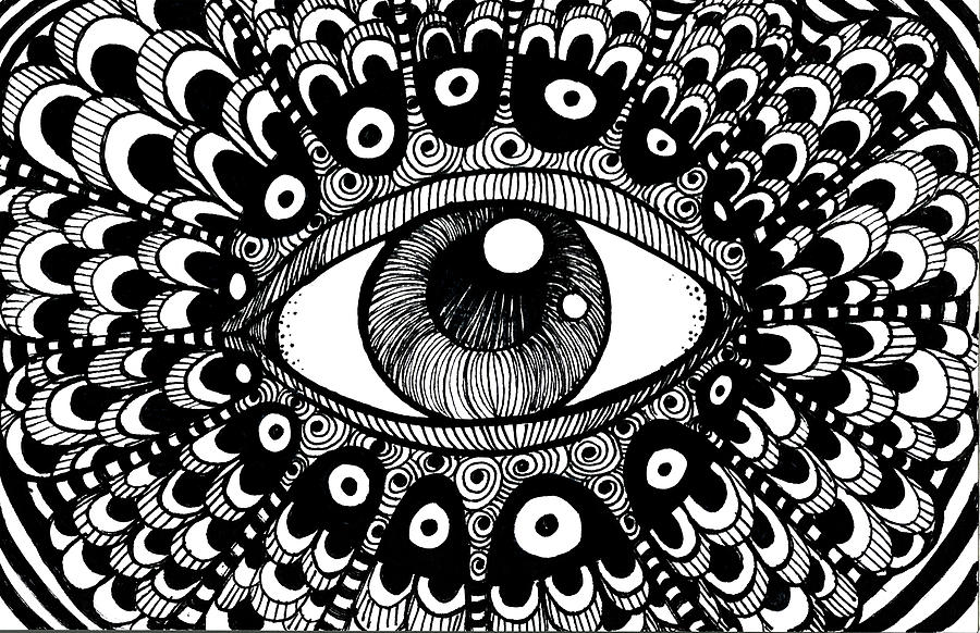 Pen Drawing - Eye Of March by Nada Meeks