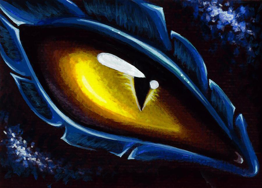 Dragon Eye Painting - Eye Of The Blue Dragon by Elaina  Wagner