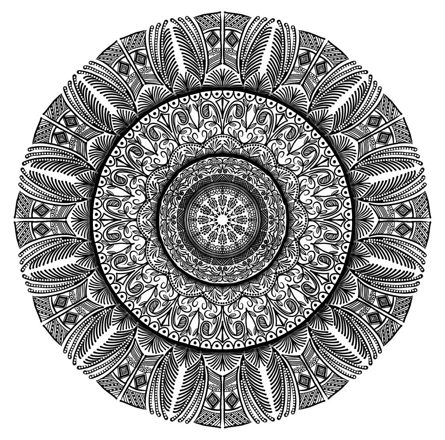 Mandala Digital Art - Eye Of The Palm by Lisa Schwaberow