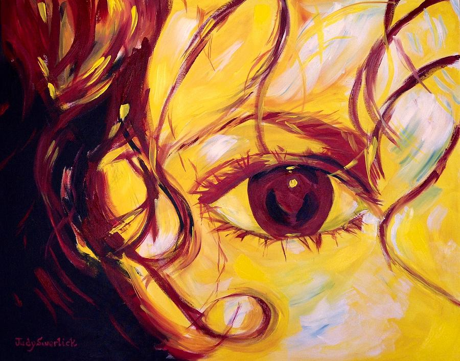 Portrait Painting - Eye Of The Tiger by Judy Swerlick