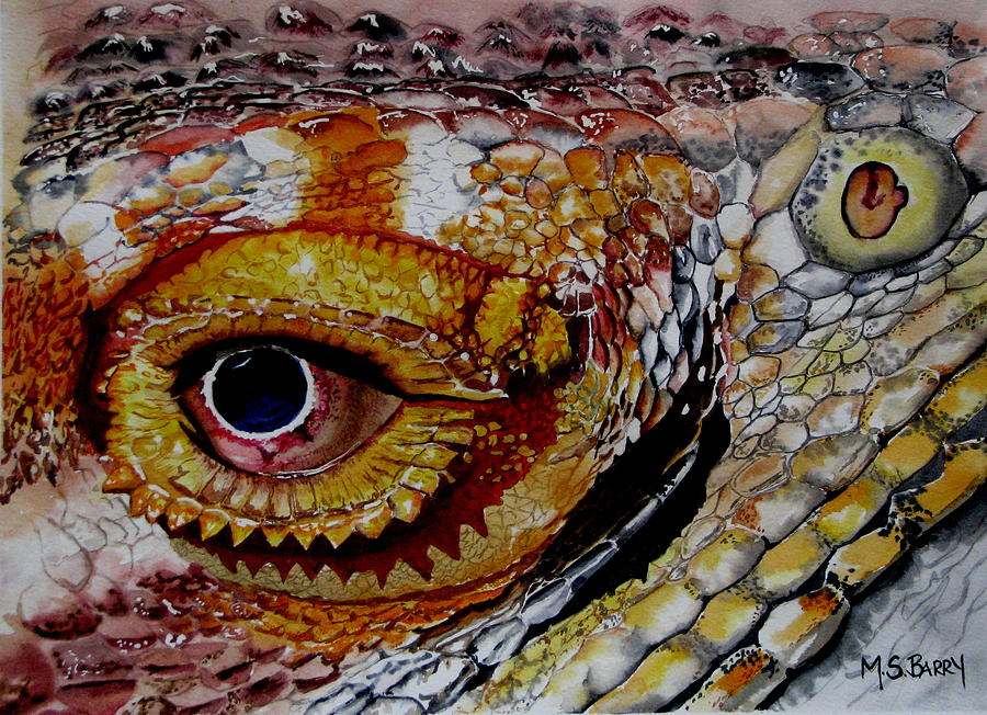 Bearded Dragon Painting - Eye On The Matter by Maria Barry