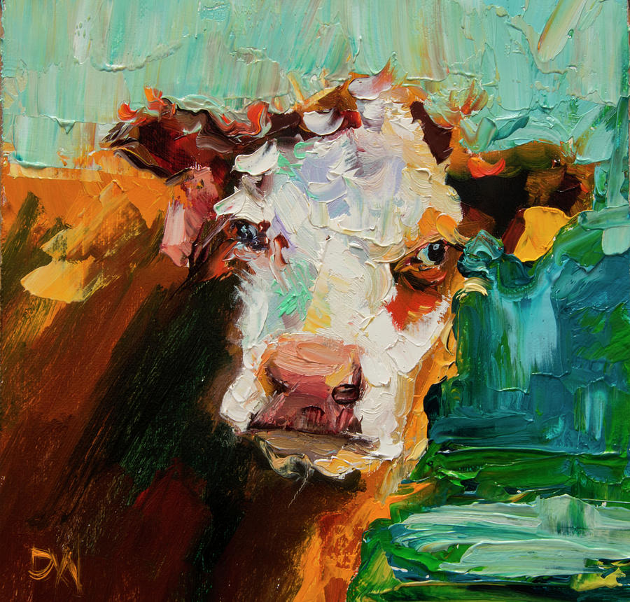 Cow Painting - Eye On You Cow by Diane Whitehead