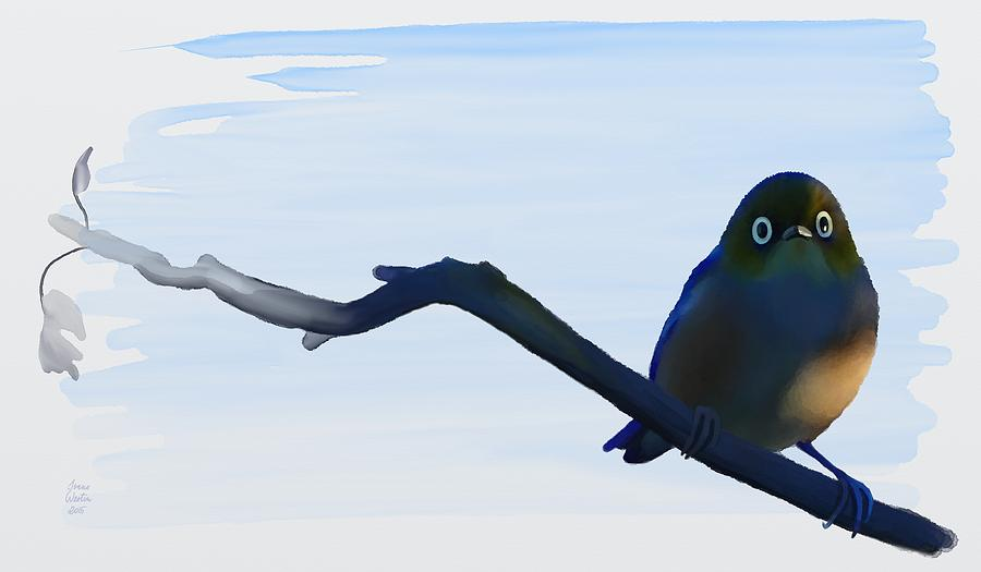 Hand Painted Painting - Eye To Eye With Silvereye by Ivana Westin