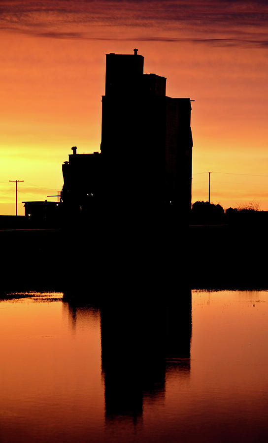 Twilight Digital Art - Eyebrow Gain Elevator Reflected Off Water After Sunset by Mark Duffy
