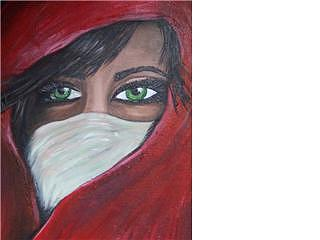 Woman Painting - Eyes Behind The Veil by Jennifer Watier