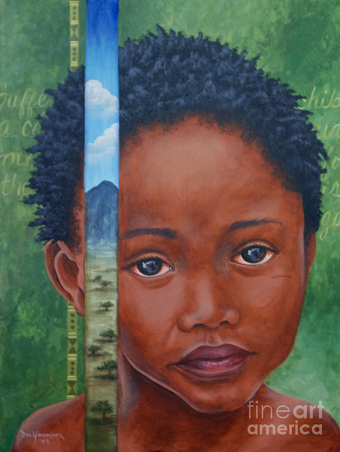 Black Painting - Eyes Of Africa by Dee Youmans-Miller