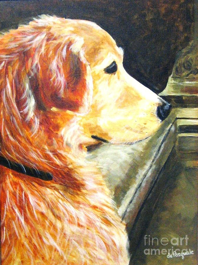 Dog Painting - Eyes On Ducks In Fountain by Gina DePasquale