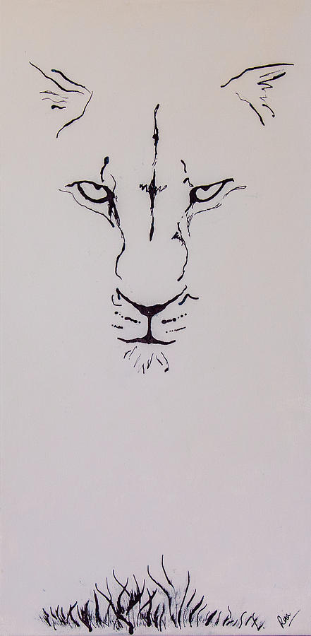 Lion Painting - Eyes On You by Rina Bhabra