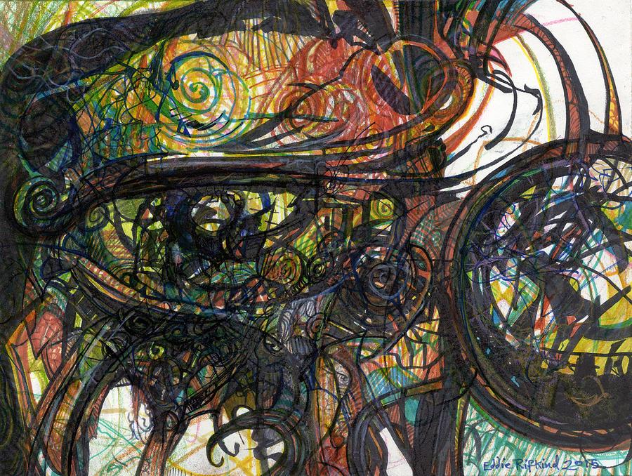 Expressionism Drawing - Eyescape by Eddie Rifkind