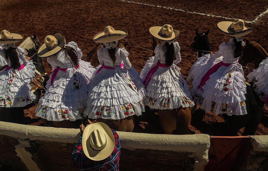 Escaramuza Photograph - Ezcaramuza Cowgirls in Mexico by Dane Strom