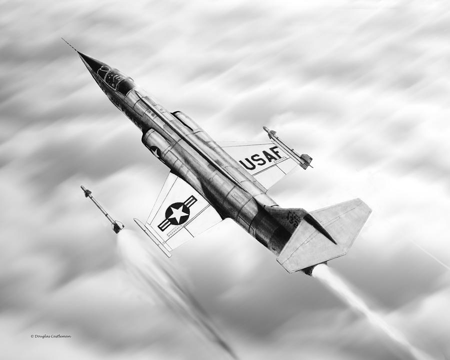 Aircraft Drawing - F-104a Starfighter by Douglas Castleman