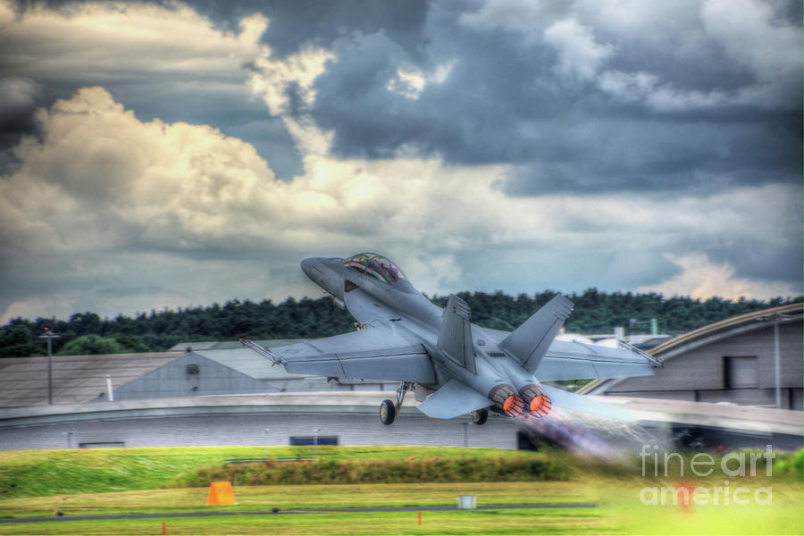 F-18 Digital Art - F-18 Hornet Takeoff by Nigel Bangert