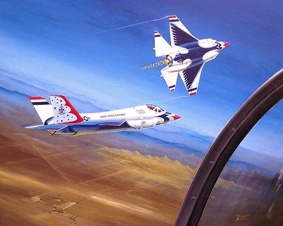 Usaf Painting - F-35A Thunderbirds by Peter Ring Sr