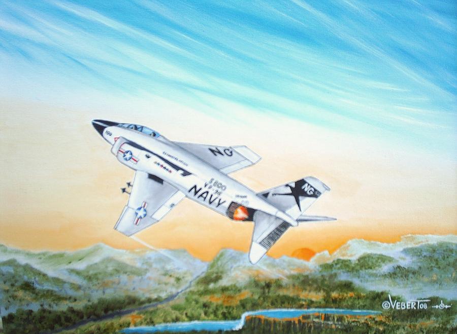 Fighter Jet Painting - F-4 Phantom by Dennis D Vebert