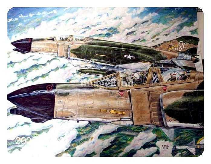 Military Drawing - F-4s Over Vietnam by James Beal