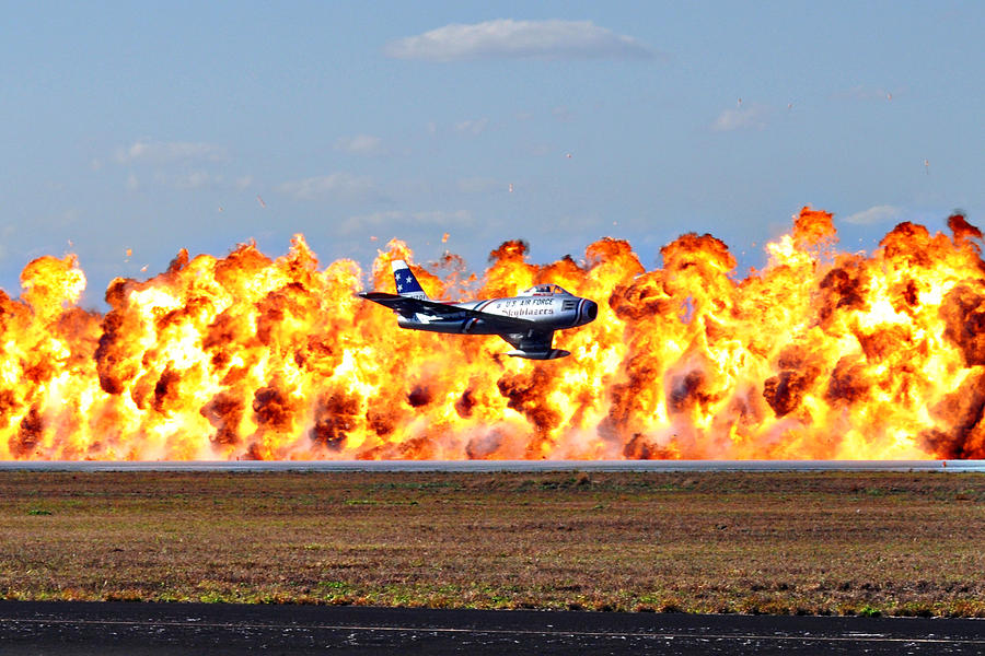 Fighter Photograph - F-86 Wall Of Fire by Mark Weaver