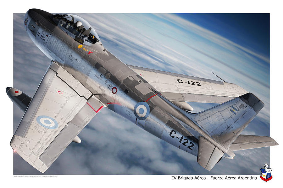 Sabre Digital Art - F-86F Argentina by Gino Marcomini