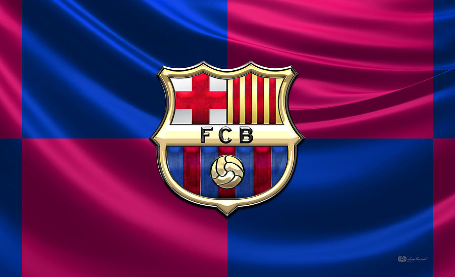 Popart Photograph - F. C. Barcelona - 3D Badge over Flag by Serge Averbukh