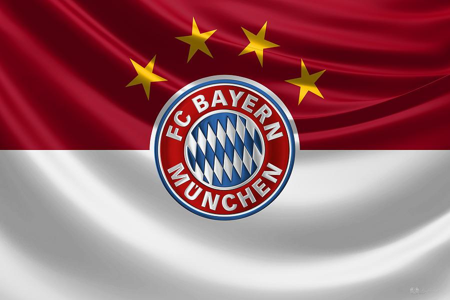 Fc Bayern Munchen Digital Art - F C Bayern Munich - 3 D Badge Over Flag by Serge Averbukh