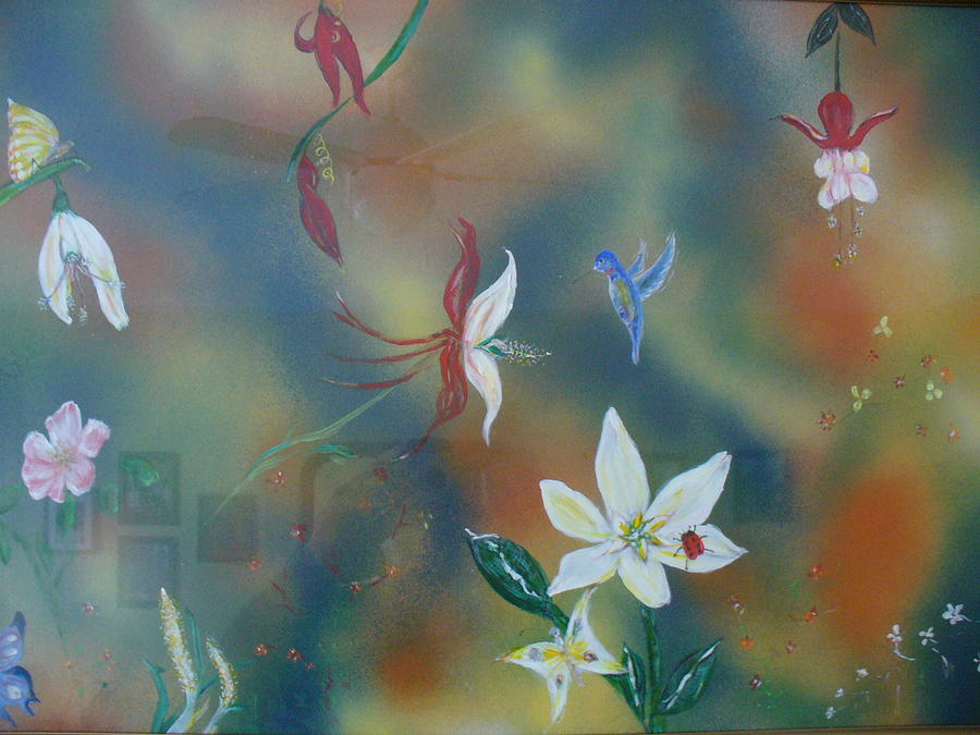 Flowers Painting - F Garden by Raza Mirza