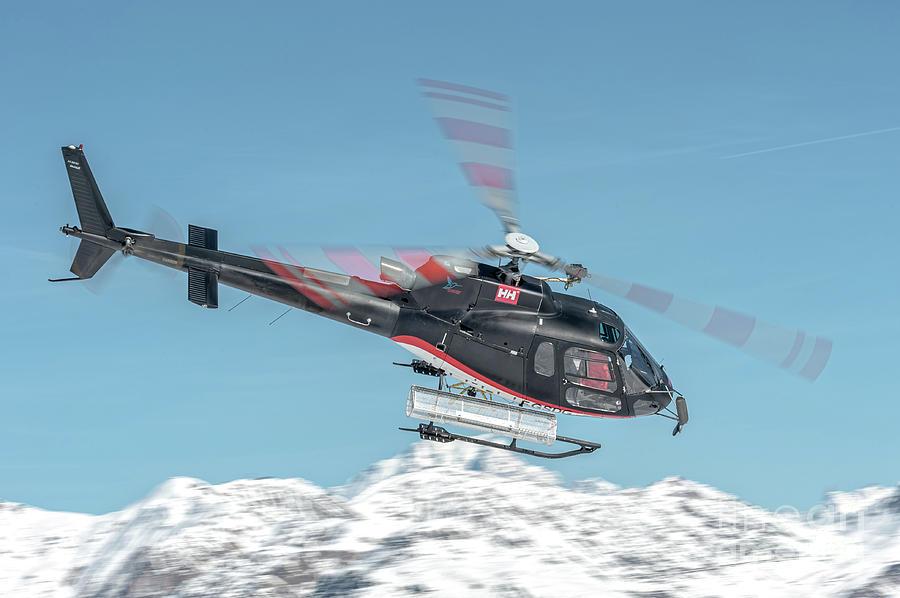 Eurocopter Photograph - F-gsdg Eurocopter As350 Helicopter Over Mountain by Roberto Chiartano
