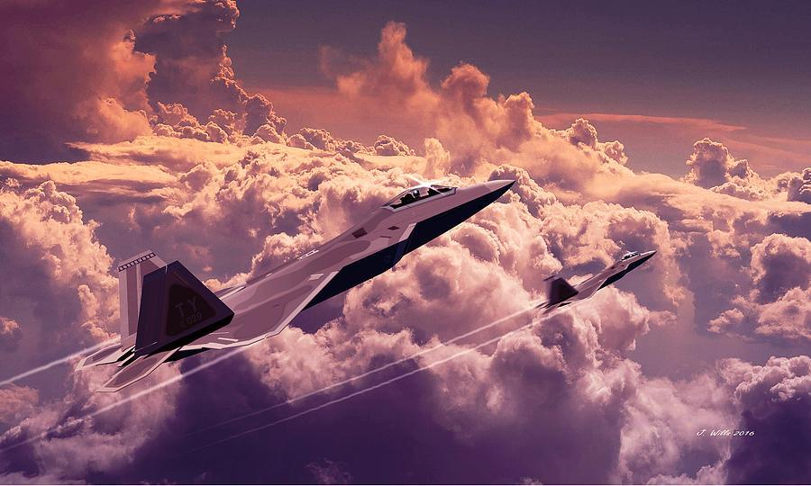 F22 Raptor Digital Art - F22 Raptor Aviation Art by John Wills