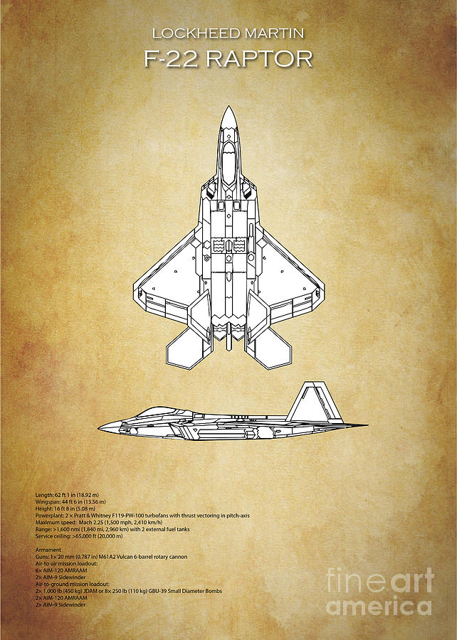F22 Digital Art - F22 Raptor Blueprint by J Biggadike