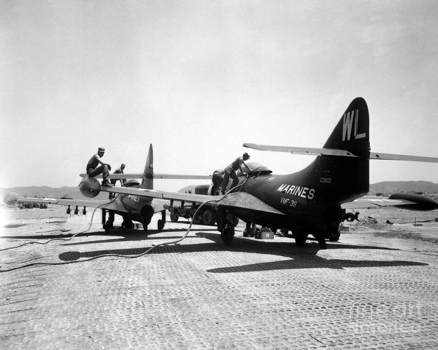 Horizontal Photograph - F9f Panther Jets Being Refueled by Stocktrek Images