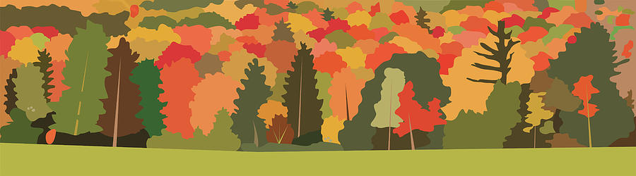 Fall Painting - Fall Forest by Marian Federspiel