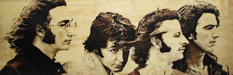 Beatles Pyrography - Fab Four by Michael Garbe