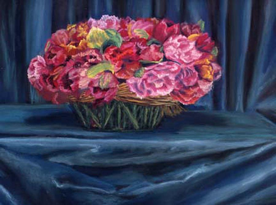 Flowers Painting - Fabric And Flowers by Sharon E Allen