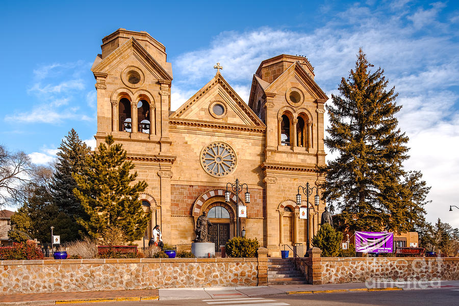 Santa Photograph - Facade Of Cathedral Basilica Of Saint Francis Of Assisi - Santa Fe New Mexico by Silvio Ligutti