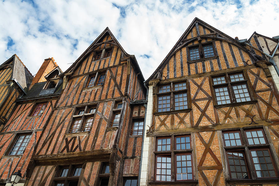 Tours Photograph - Facades of half-timbered houses in Tours, France by GoodMood Art