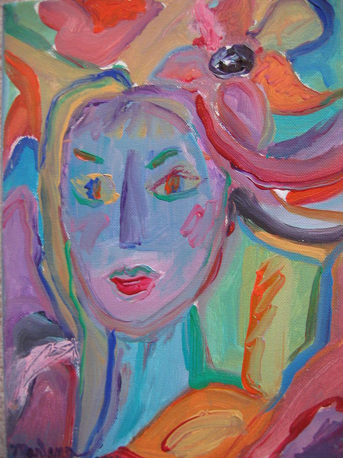 Woman Painting - Face 1 by Marlene Robbins