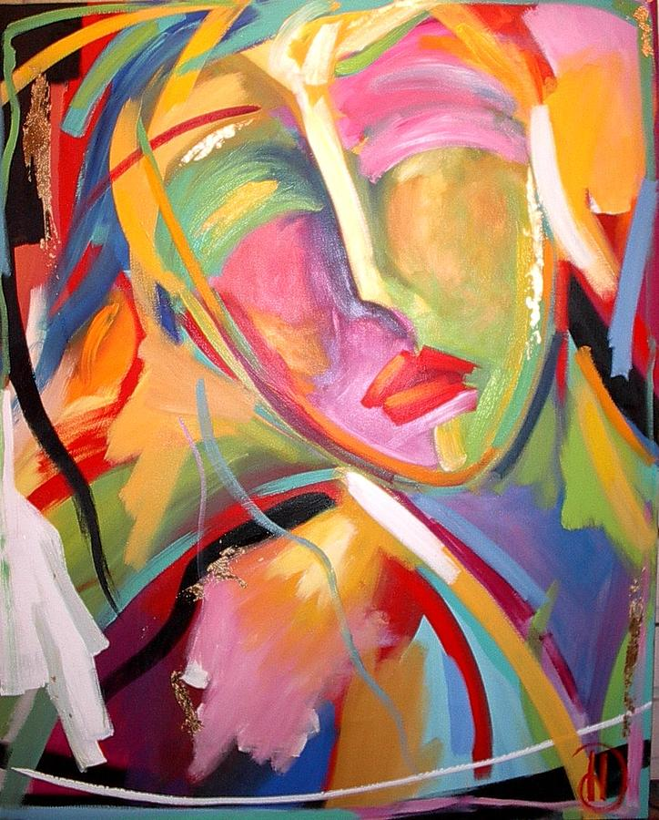Abstract Figure Painting - Face 5 by Heather Roddy