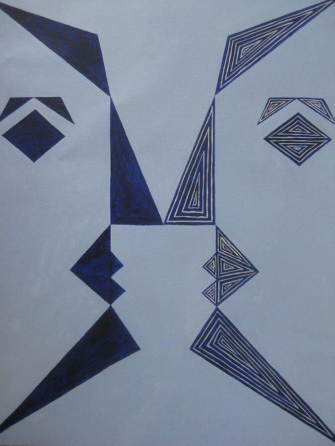 Abstract Painting - Face Formed With Triangles by Swathi Kurunji