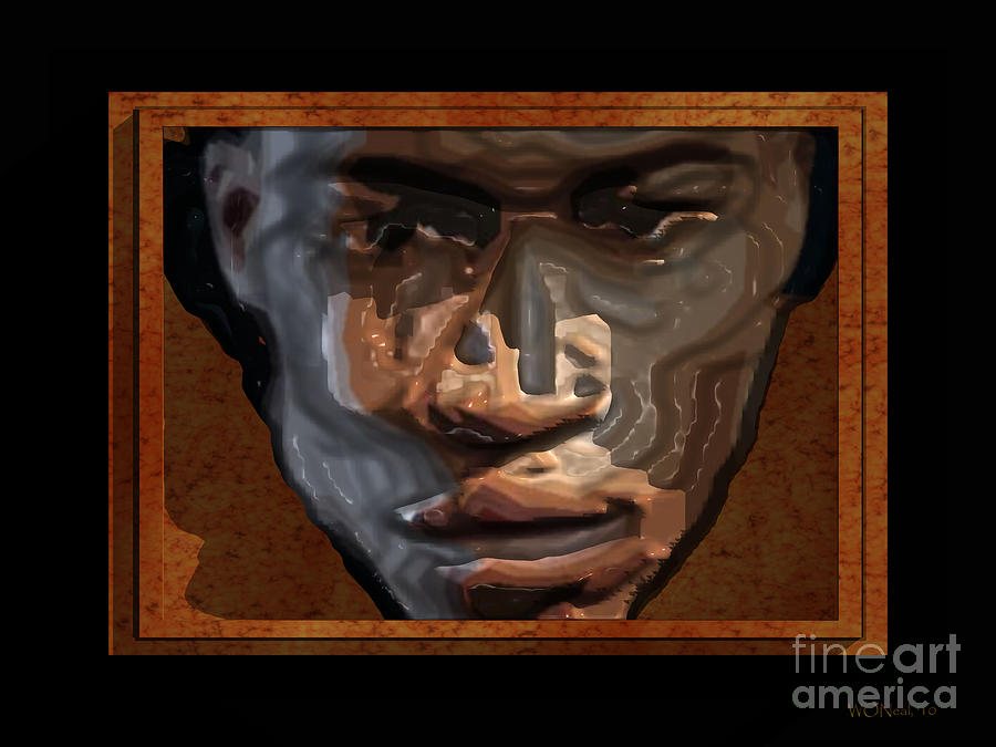 Male Portrait Digital Art - Face In A Box by Walter Oliver Neal