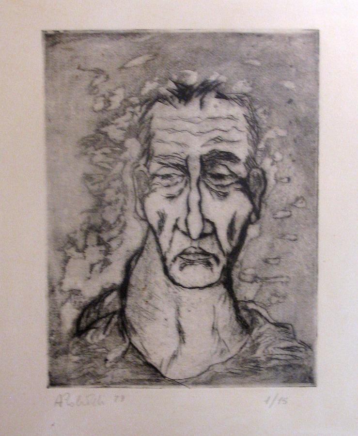 Face Drawing - Face Marked By Fatigue by Alfonso Robustelli