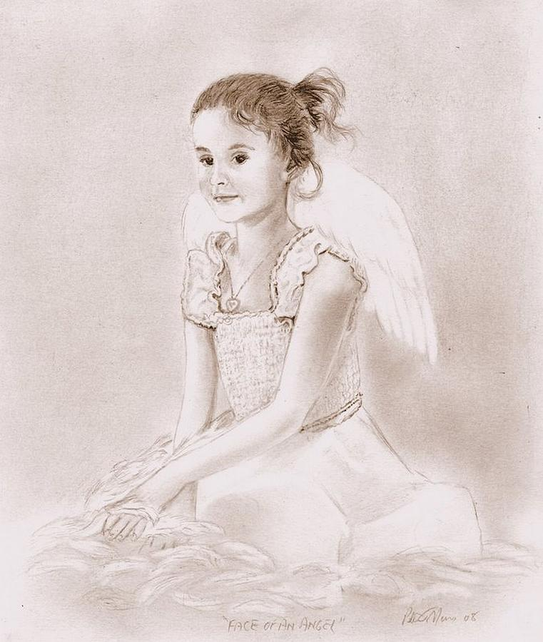 Pencil Drawing - Face Of An Angel by Peter Morris