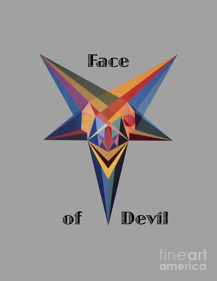 Painting Painting - Face Of Devil Text by Michael Bellon