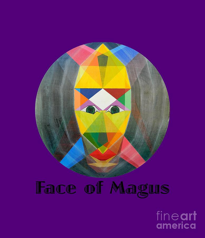 Tarot Painting - Face of Magus text by Michael Bellon