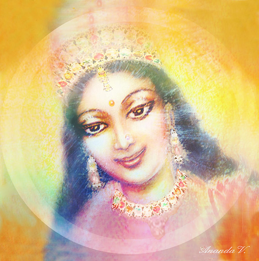 Goddess Painting Mixed Media - Face Of The Goddess - Lalitha Devi - Rainbow Colors by Ananda Vdovic