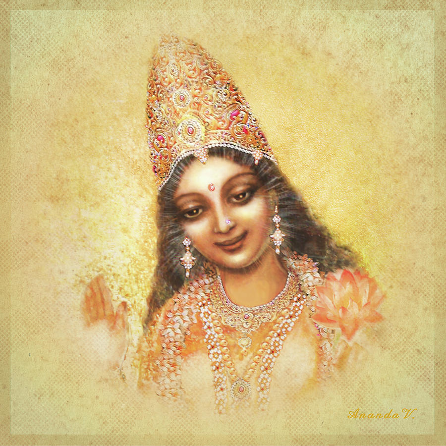 Goddess Painting Mixed Media - Face Of The Goddess - Lalitha Devi - Without Frame by Ananda Vdovic
