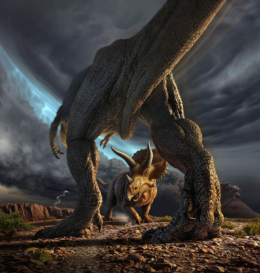 Dinosaur Digital Art - Face Off by Jerry LoFaro