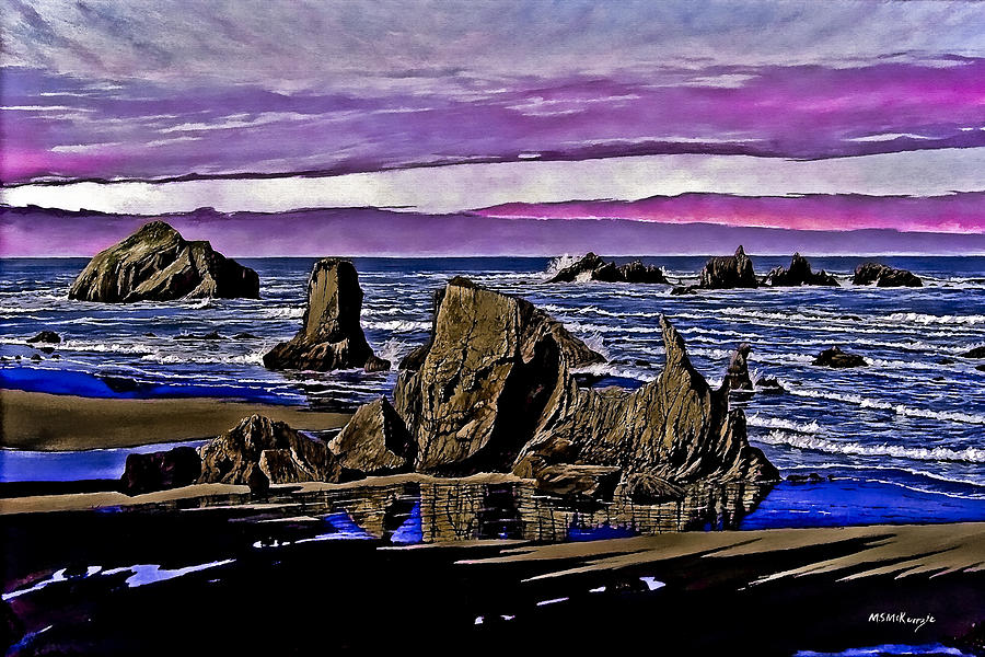 Sea Stacks Painting - Face Rock At Bandon Beach by M S McKenzie